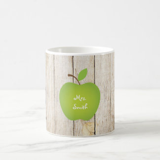 Profesor de madera de Apple del verde del panel Taza Básica Blanca
