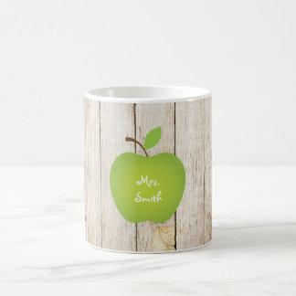 Profesor de madera de Apple del verde del panel Taza Clásica