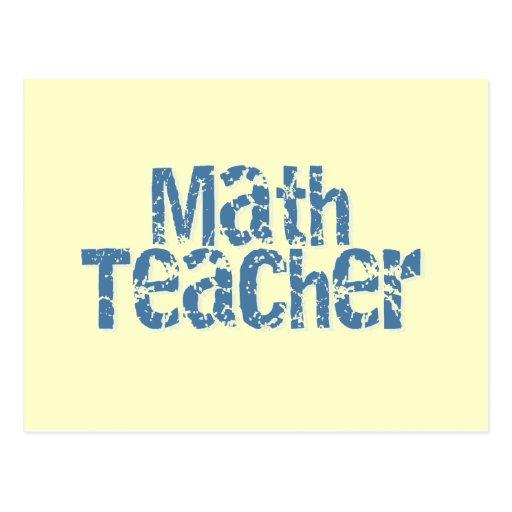 Profesor de matemáticas apenado azul del texto tarjeta postal