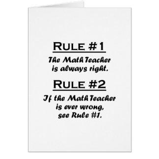 Profesor de matemáticas de la regla tarjeta pequeña
