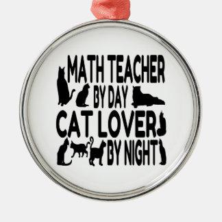 Profesor de matemáticas del amante del gato adorno navideño redondo de metal