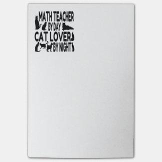 Profesor de matemáticas del amante del gato post-it® nota