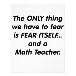 Profesor de matemáticas del miedo tarjetón