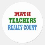 Profesor de matemáticas divertido etiquetas redondas