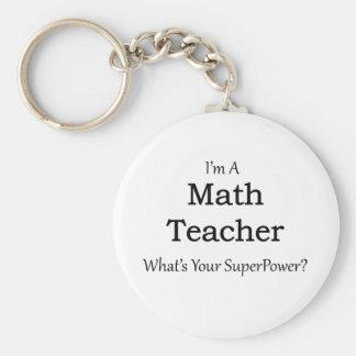 Profesor de matemáticas llavero redondo tipo pin