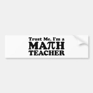 Profesor de matemáticas pegatina para auto