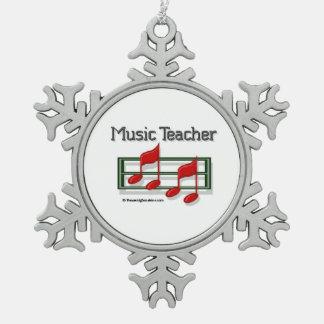 Profesor de música adorno de peltre en forma de copo de nieve