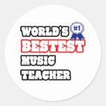 Profesor de música de Bestest del mundo Etiquetas Redondas