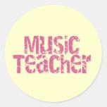 Profesor de música rosado del texto de la desolaci pegatinas redondas