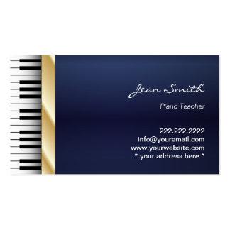 Profesor de piano de la música de la raya del oro tarjetas de visita