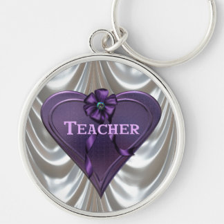 Profesor de Purple Heart Llavero Redondo Plateado