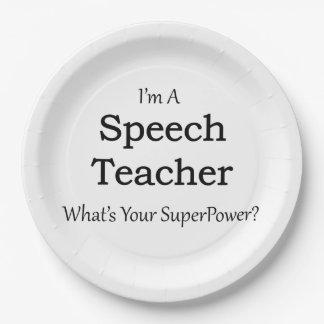 Profesor del discurso plato de papel de 9 pulgadas