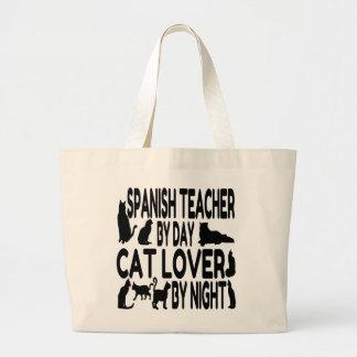 Profesor del español del amante del gato bolsas de mano