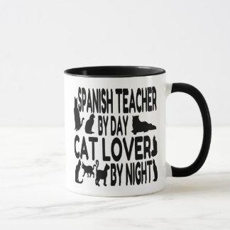 Profesor del español del amante del gato taza