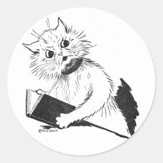 Profesor del gato con el libro educativo pegatina redonda