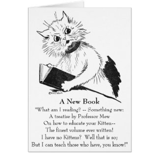 Profesor del gato con el libro educativo tarjeta de felicitación