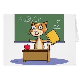 Profesor del gato tarjeta de felicitación
