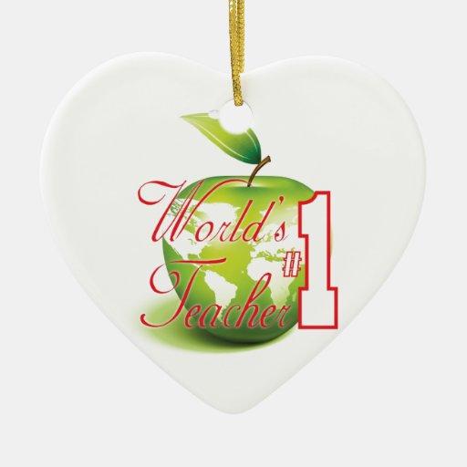 Profesor del número 1 adorno de cerámica en forma de corazón