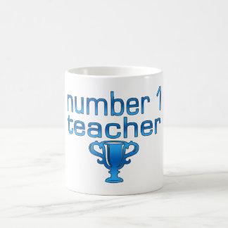 Profesor del número 1 en azul taza