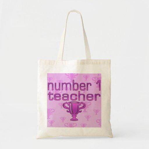 Profesor del número 1 en rosa bolsa de mano