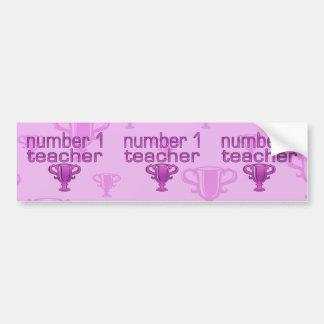 Profesor del número 1 en rosa pegatina de parachoque