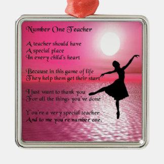 Profesor del número uno - diseño de la bailarina adorno cuadrado plateado