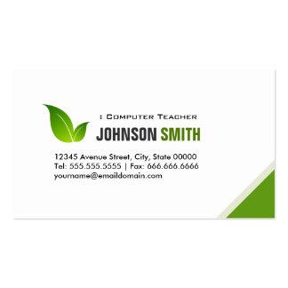 Profesor del ordenador - verde moderno elegante tarjeta de visita