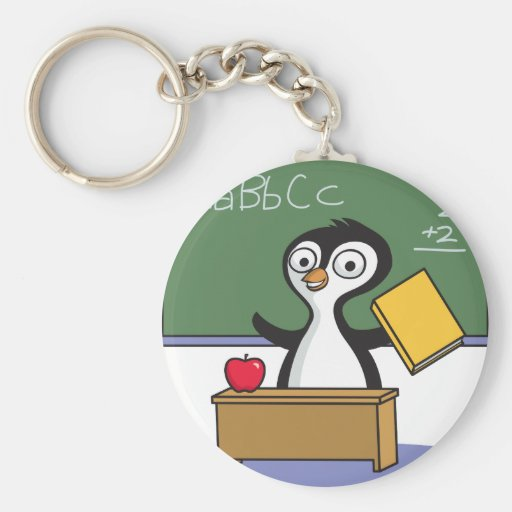 Profesor del pingüino llavero redondo tipo pin