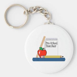 Profesor del preescolar (cuaderno) llavero redondo tipo pin