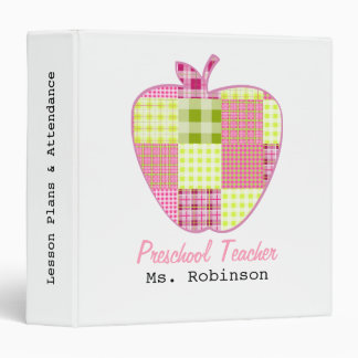 "Profesor del preescolar de Apple de la tela Carpeta 1 1/2"""