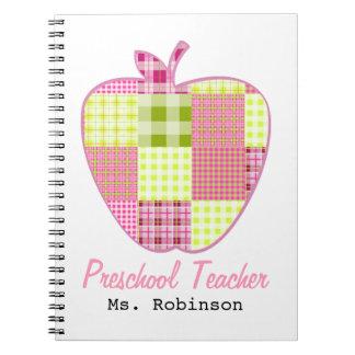 Profesor del preescolar de Apple de la tela escoce Libros De Apuntes Con Espiral