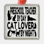 Profesor del preescolar del amante del gato ornamentos para reyes magos