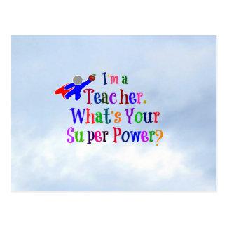 Profesor del super héroe postales