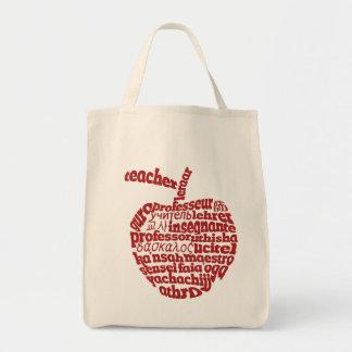 Profesor en todo el rojo Apple de las idiomas Bolsas Lienzo