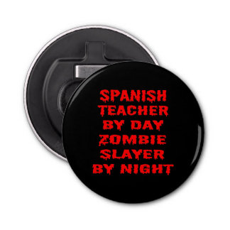 Profesor español del asesino del zombi del día por abrebotellas redondo