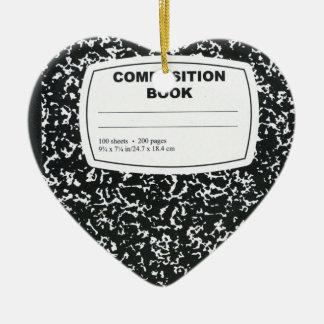 Profesor estudiante del libro de la composición adorno navideño de cerámica en forma de corazón