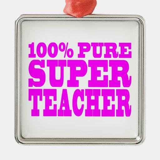 Profesor estupendo puro rosado fresco de los adorno cuadrado plateado