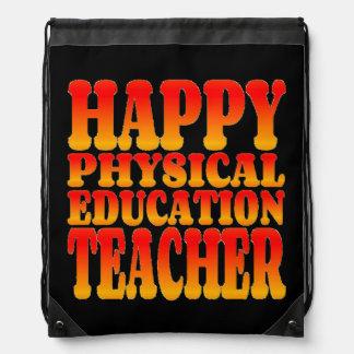 Profesor feliz de la educación física en color mochila