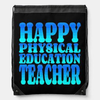Profesor feliz de la educación física mochila