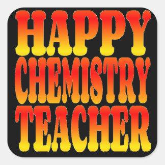 Profesor feliz de la química en colores alegres