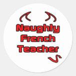 Profesor francés travieso etiquetas redondas