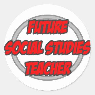 Profesor futuro de los estudios sociales pegatina redonda