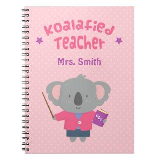Profesor graciosamente lindo del oso de koala del libros de apuntes