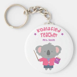 Profesor graciosamente lindo del oso de koala del llavero redondo tipo pin