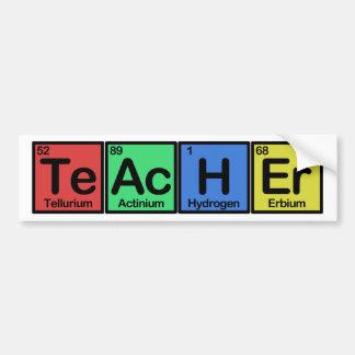 Profesor hecho de colores de los elementos pegatina de parachoque