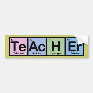 Profesor hecho de elementos etiqueta de parachoque