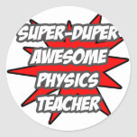 Profesor impresionante estupendo de la física de pegatina redonda
