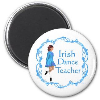 Profesor irlandés de la danza del paso - azul imán redondo 5 cm
