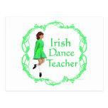 Profesor irlandés de la danza del paso - verde postales