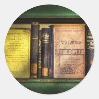 Profesor - libros que usted utiliza en escuela pegatina redonda